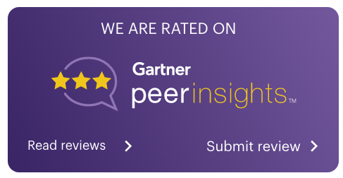 Purple card-type image encouraging users to review and read existing reviews of STREAM/Acuity on Gartner Peer Insights