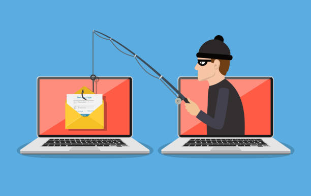 Image illustrating phishing. It showcases an attacker coming out of a laptop holding a fishing pole to another laptop with an email envelope on it.